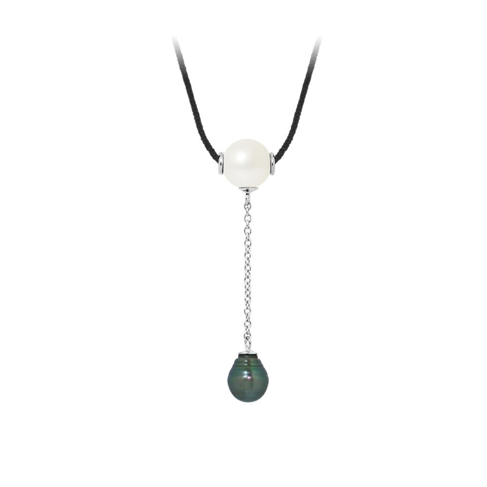 Tahitian Pearl and White Freshwater Pearl, Black Cotton Woman Necklace and 925 Sterling Silver