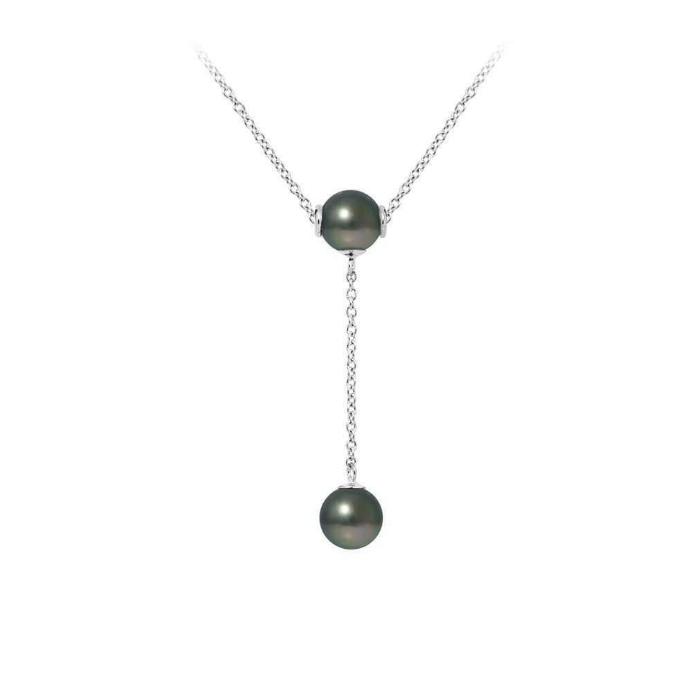 2 Tahitian Pearls and 925 Sterling Silver Woman Necklace