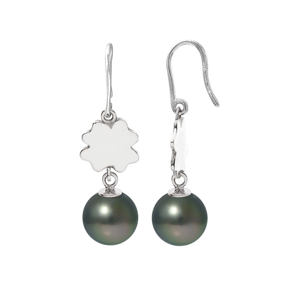 Black Tahitian Pearls Clover Dangling Earrings and Silver 925/1000