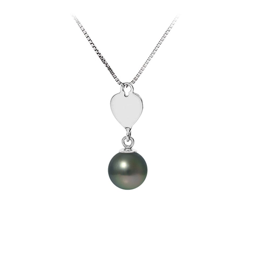 Black Tahitian Pearl and Heart Pendant Necklace and Sterling Silver 925