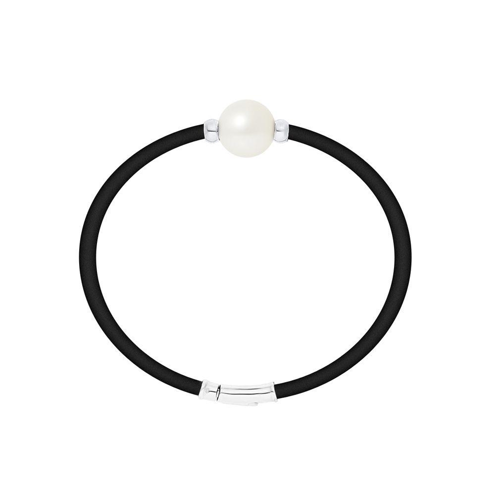 White Freshwater Pearl Neoprene and 925 Sterling Silver Bracelet