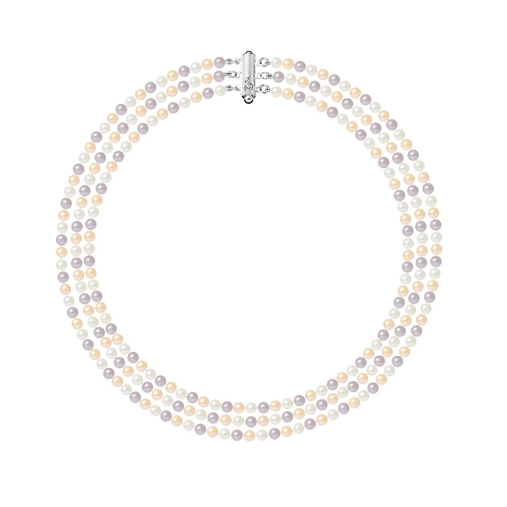 Necklace 3 Rows of Freshwater Cultured Pearls Multicolor