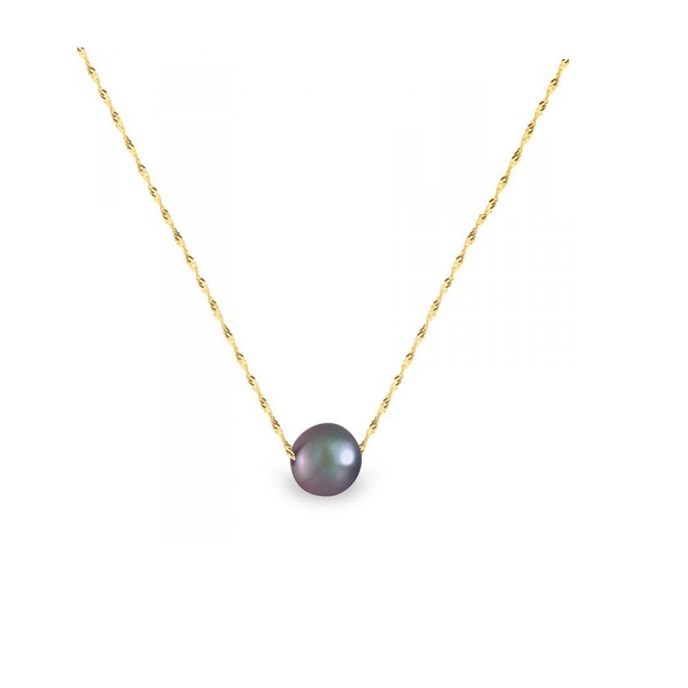 Black Freshwater Pearl and Yellow Gold 750/1000 Singapour Chain Woman Necklace