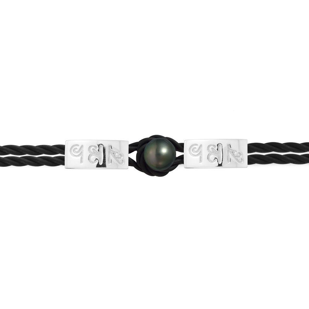 10 mm Black Tahitian Pearl, Black Neoprene Tribal Man-Woman Bracelet and 925 Sterling Silver with Egyptian hieroglyphics