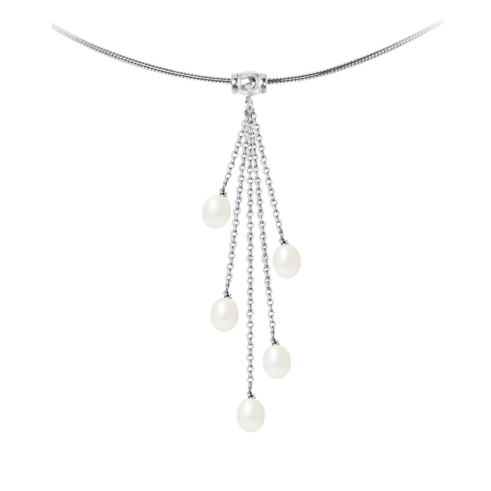 5 White Freshwater Pearls and 925/1000 Sterling Silver Women Necklace