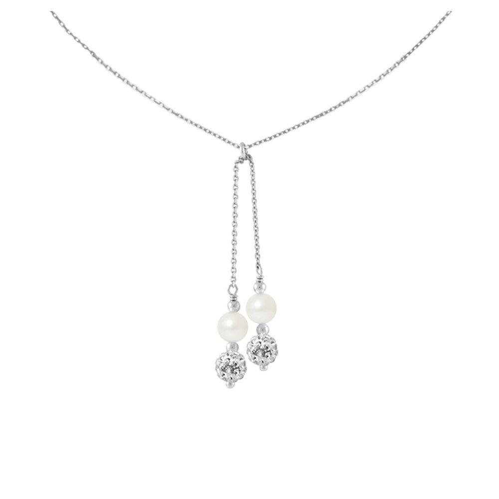 2 White Crystal and Freshwater Pearls, and 925/1000 Sterling Silver Women Necklace