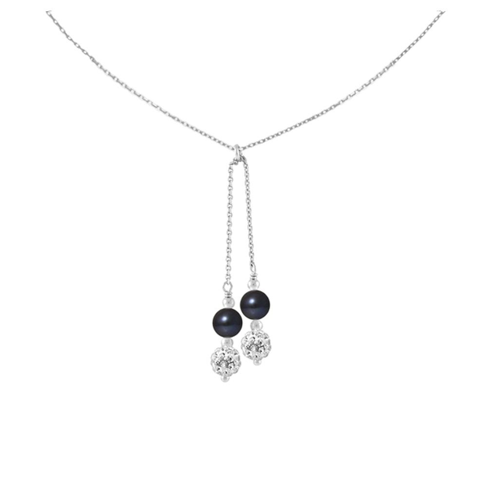 2 White Crystal and Black Freshwater Pearls, and 925/1000 Sterling Silver Women Necklace