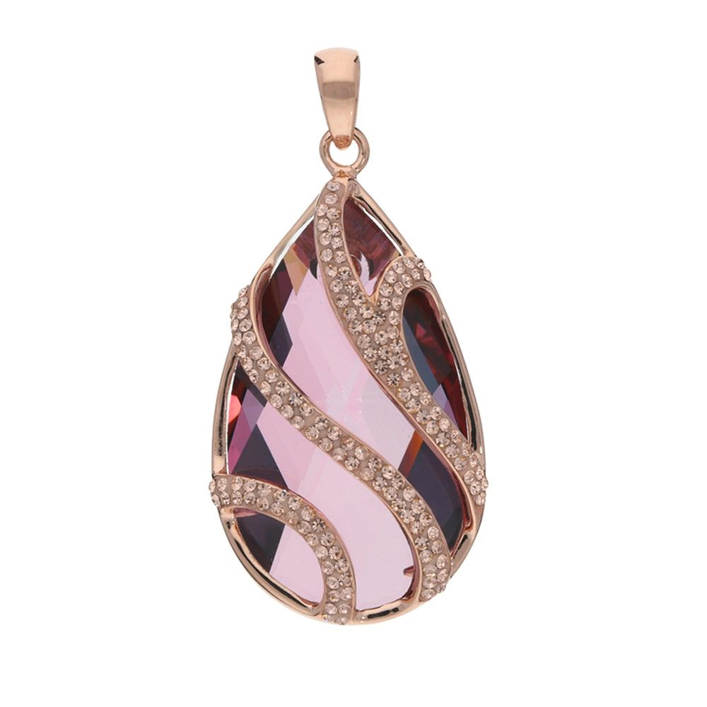 Swarovski - Pink Swarovski Elements Crystal Pendant and 925/1000 Silver Rose Gold plated Mounting