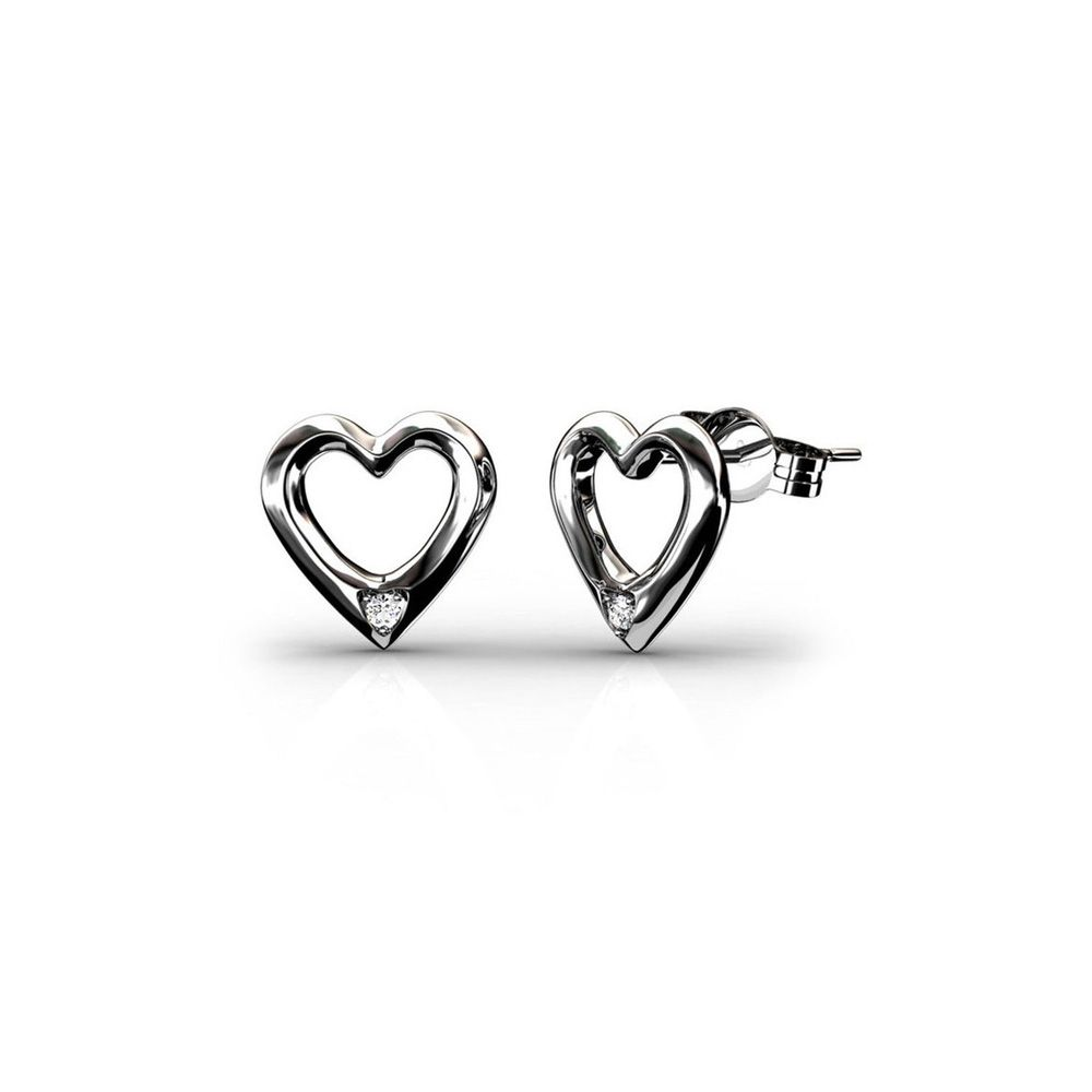 Swarovski - Heart Earrings Women Rhodium Plated and White Swarovski Elements