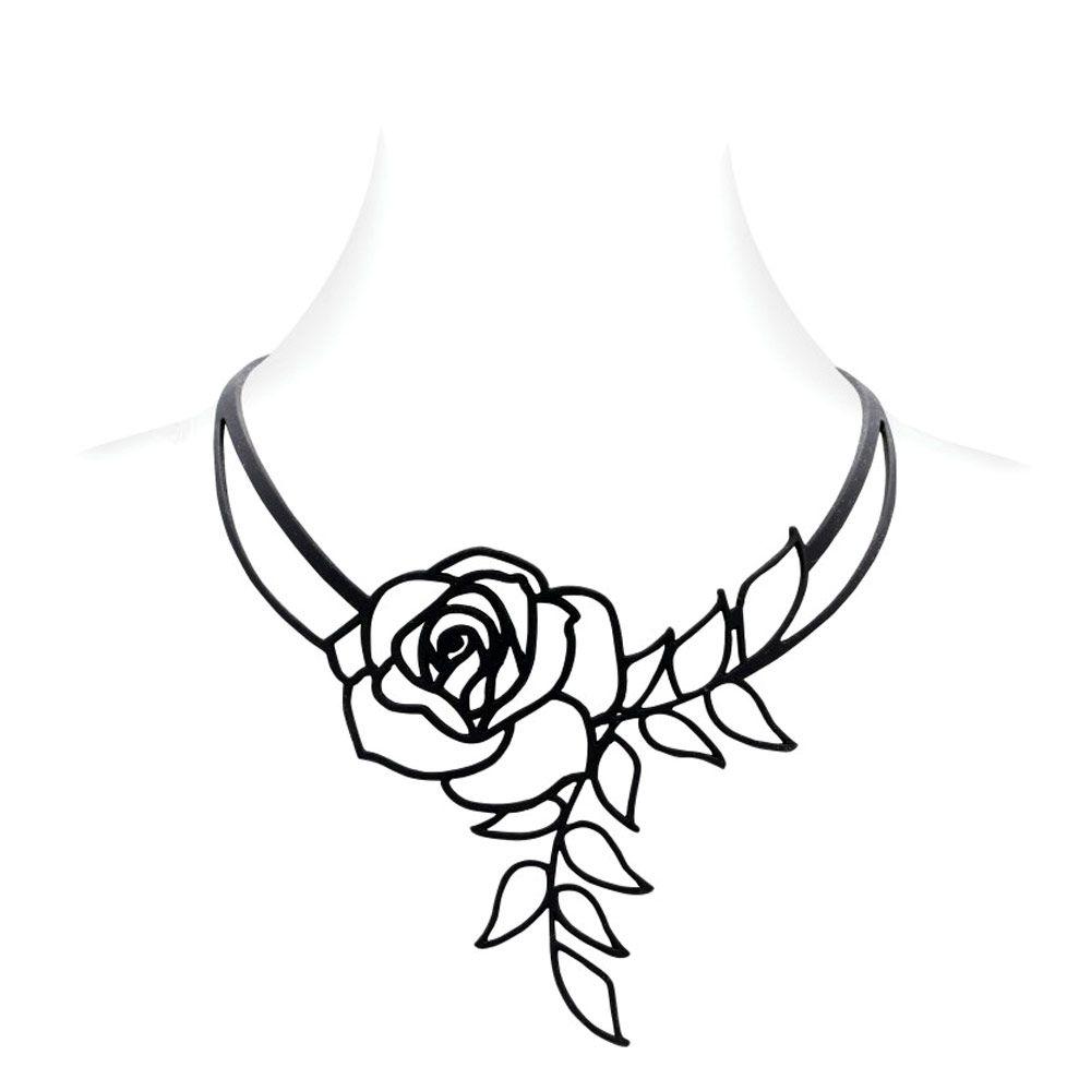 Black Silicone Gum Rose Necklace Effect Tatto