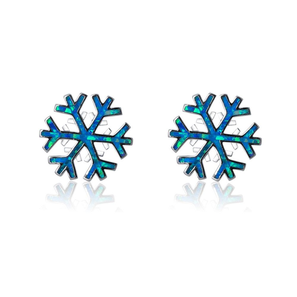 Blue Opal Snowflake Women earrings and Silver Plated
