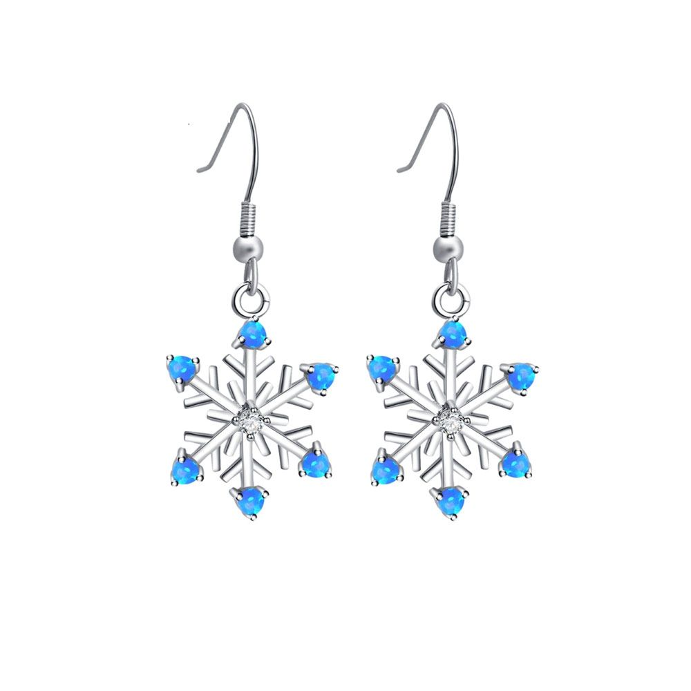 Blue Opal Snowflake Women Dangling Hooks earrings and Silver Plated