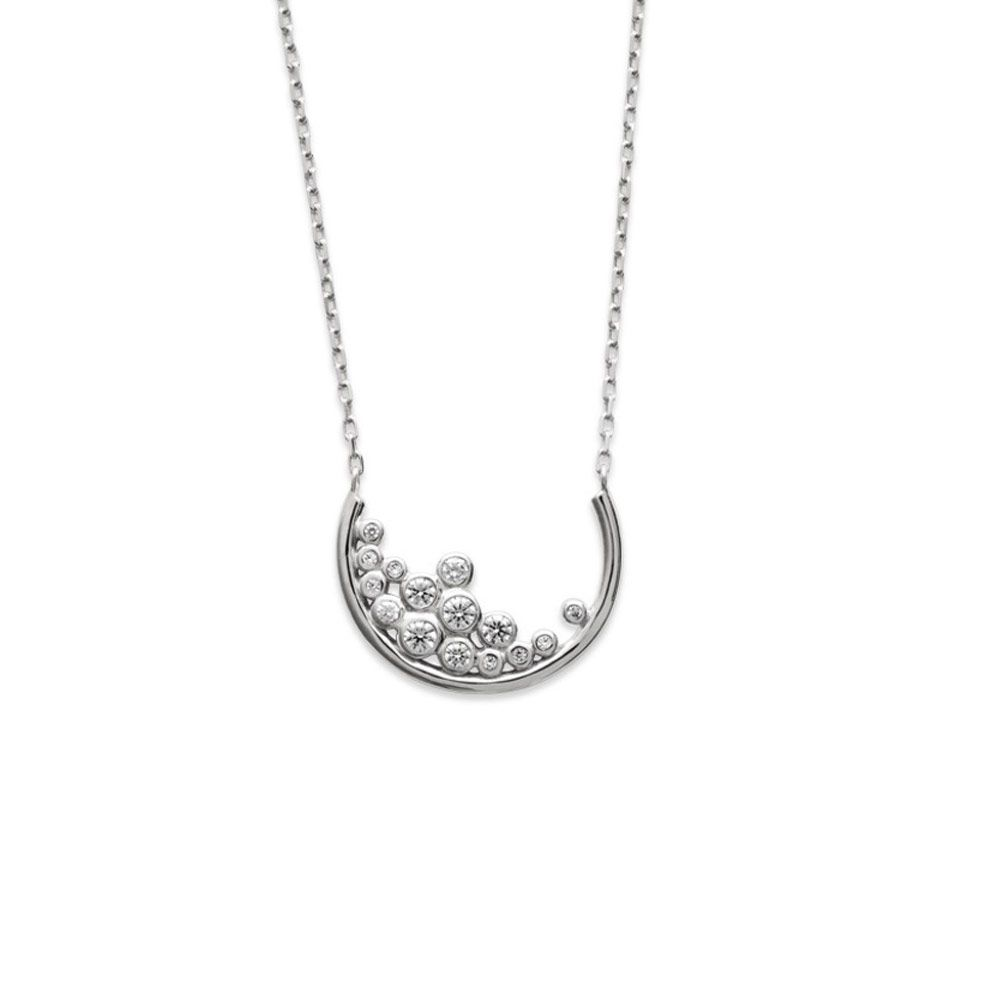 White Zirconium Oxide and 925 Sterling Silver Women Necklace