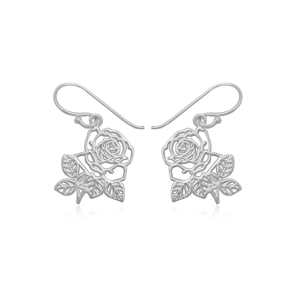 Hanging Earrings with Hook Roses in 925 Silver