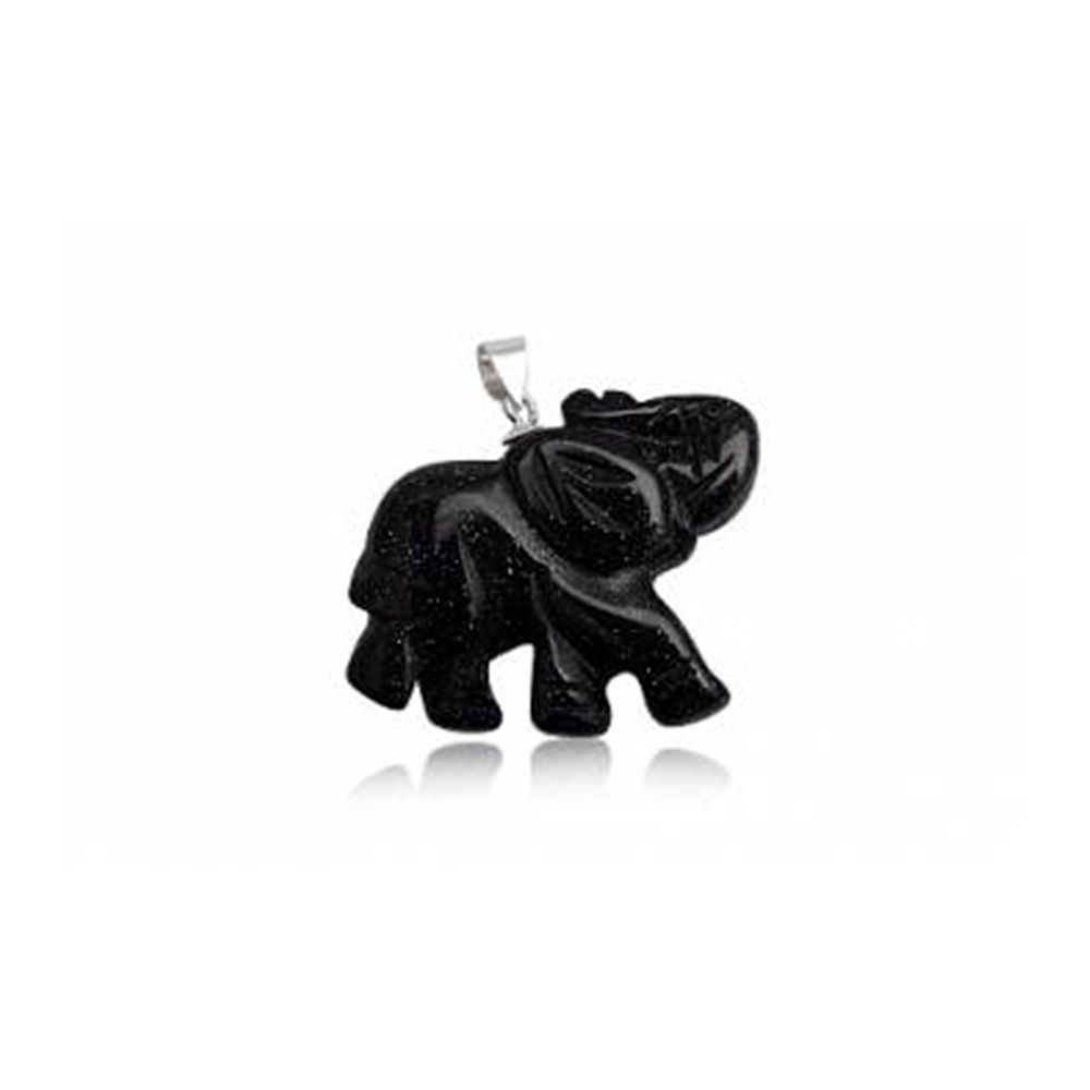 Elephant Pendant in Blue Sandstone and 925 Silver
