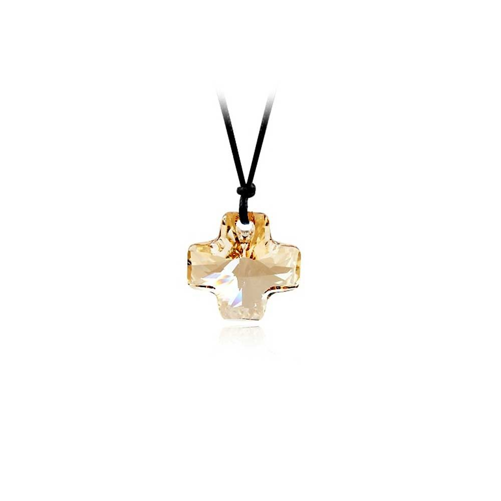 Swarovski - Set of 10 pieces Cross Necklaces in Gold Crystal Swarovski Elements