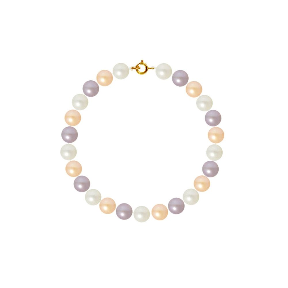 AA Multicolor Freshwater Pearl Women Bracelet and 750/1000 Yellow Gold Clasp