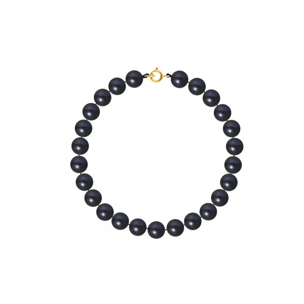 AA Black Freshwater Pearl Women Bracelet and 750/1000 Yellow Gold Clasp