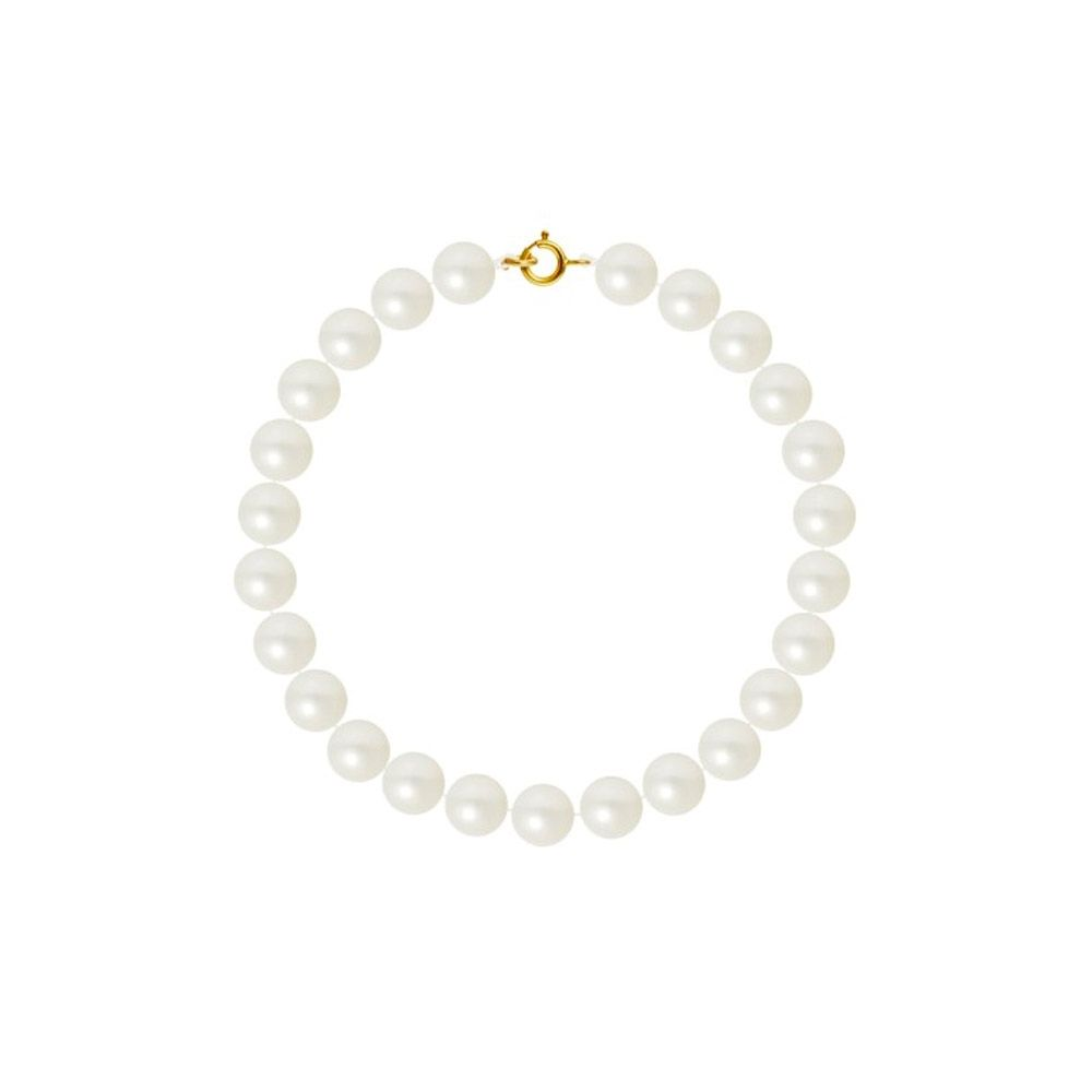 AA White Freshwater Pearl Women Bracelet and 750/1000 Yellow Gold Clasp