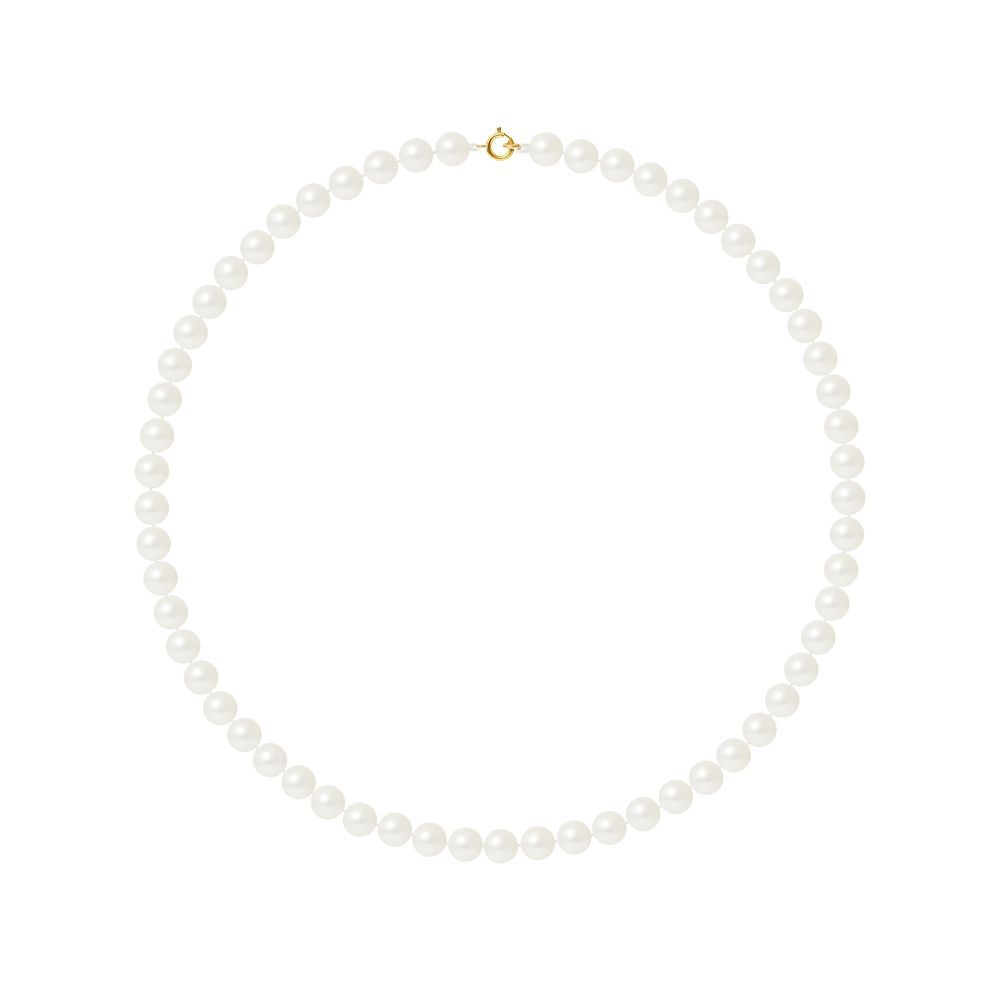 AA White Freshwater Pearl Women Necklace and 750/1000 Yellow Gold Clasp