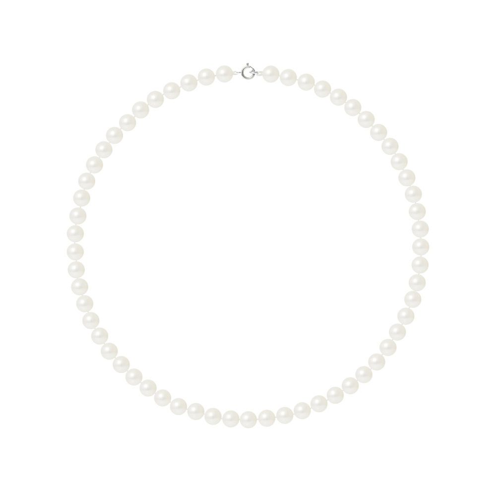 AA White Freshwater Pearl Women Choker Necklace and 750/1000 White Gold Clasp