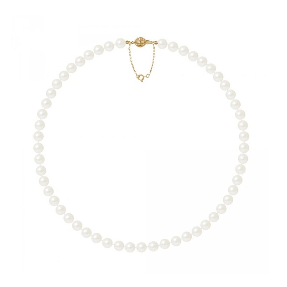 7.5-8 mm and AA White Freshwater Pearl Women Necklace and 750/1000 Yellow Gold Clasp
