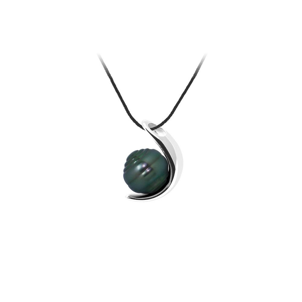 Black Cotton Necklace, 9mm Rimmed Tahitian Pearl Pendant and Silver 925/1000