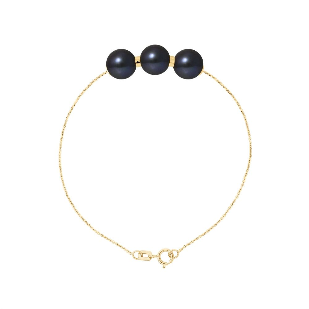 3 AA Black Freshwater Pearls Bracelet and 750/1000 Yellow Gold