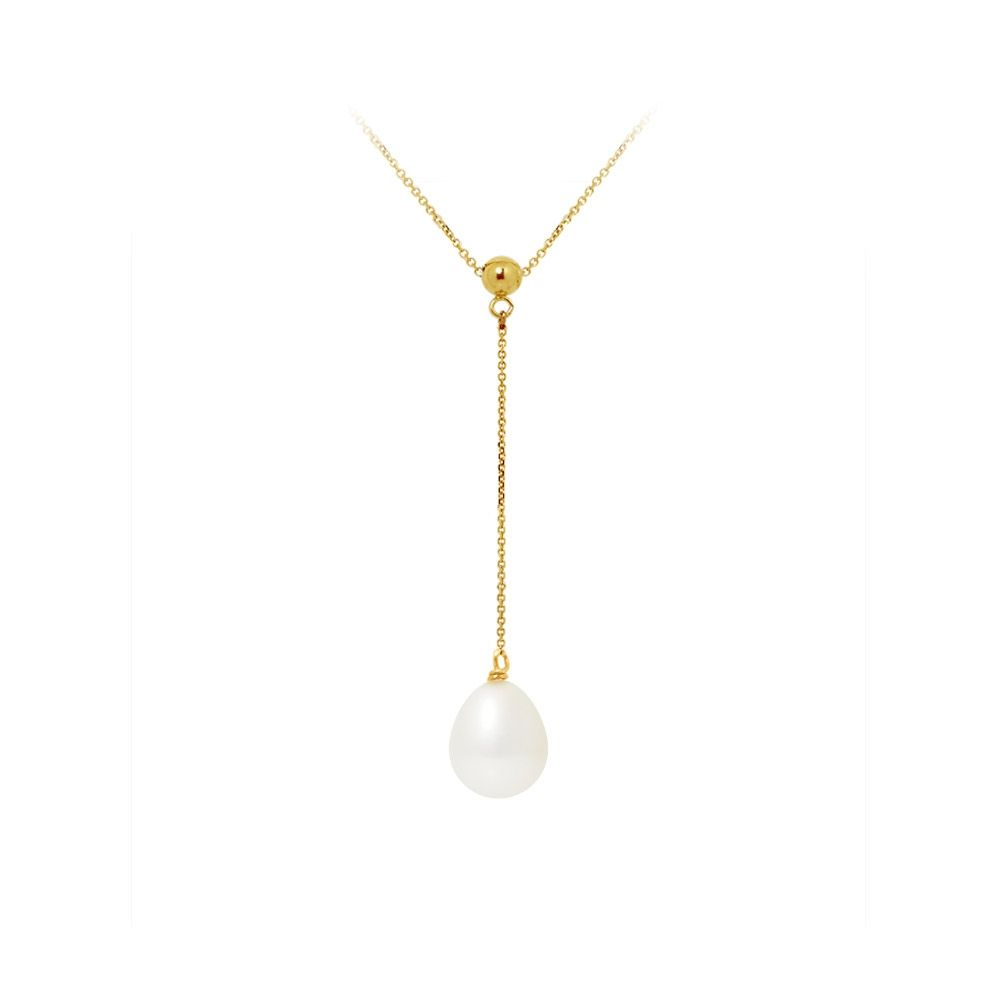 White Freshwater Pearl Choker Necklace and 375/1000 Yellow Gold