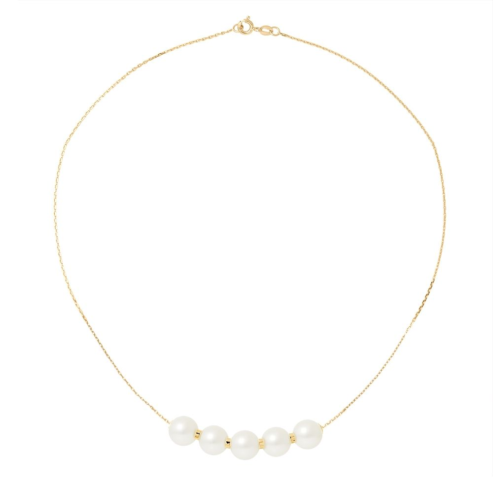 5 White Freshwater Pearls Choker Necklace and 750/1000 Yellow Gold