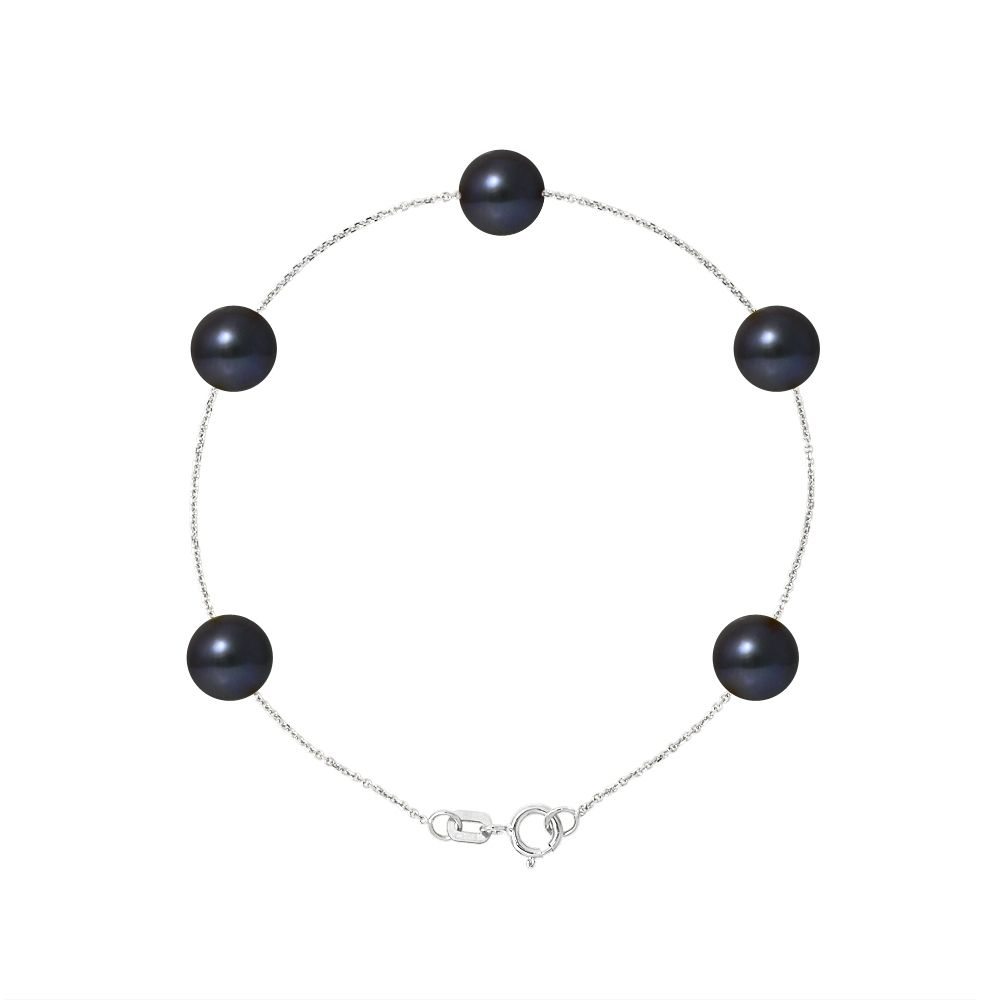 5 AA Black Freshwater Pearls Bracelet and 750/1000 White Gold