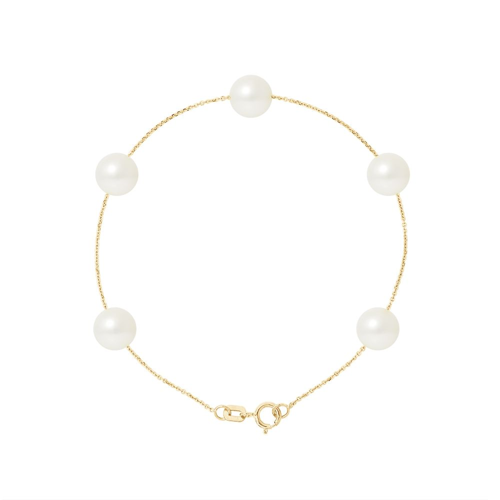 5 AA White Freshwater Pearls Bracelet and 750/1000 Yellow Gold
