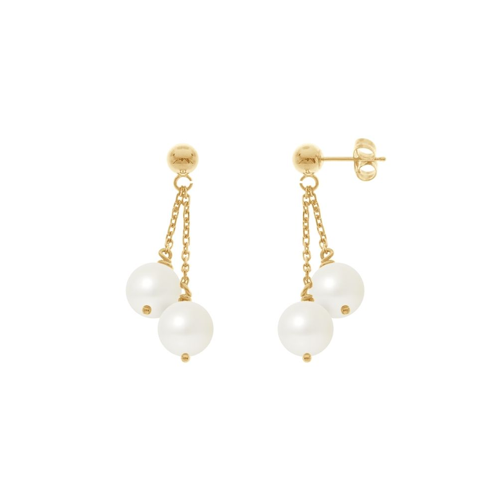 Double White Freshwater Pearls Dangling Earrings and yellow gold 750/1000