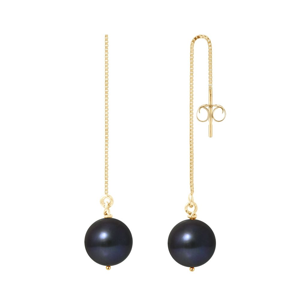 Black Freshwater Pearls Dangling Earrings and yellow gold 750/1000
