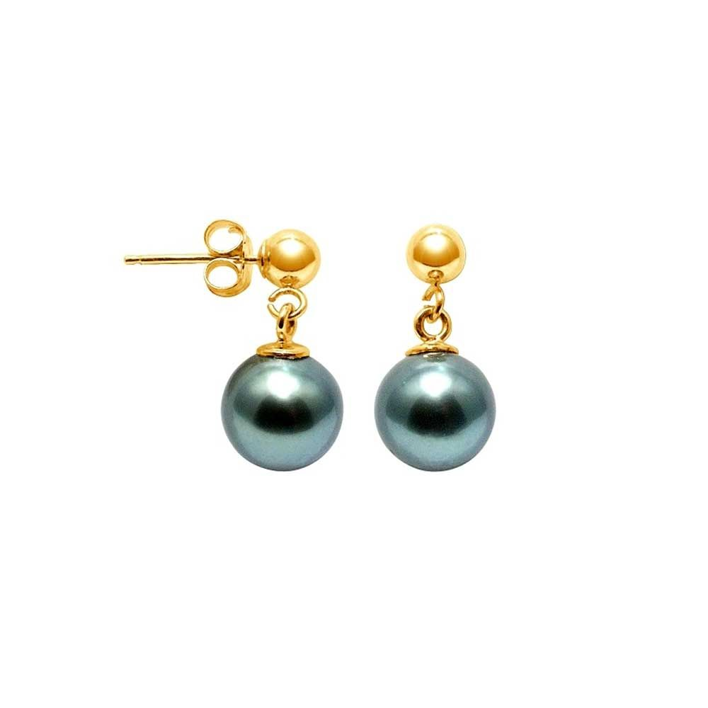 8 mm Tahitian Pearls Earrings and yellow gold 750/1000