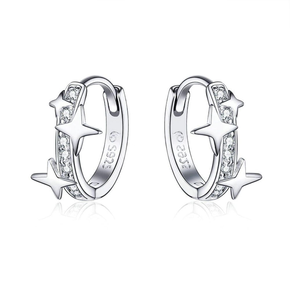 Swarovski - Star Hoop Woman's Earrings made with White Crystal from Swarovski and 925 Silver