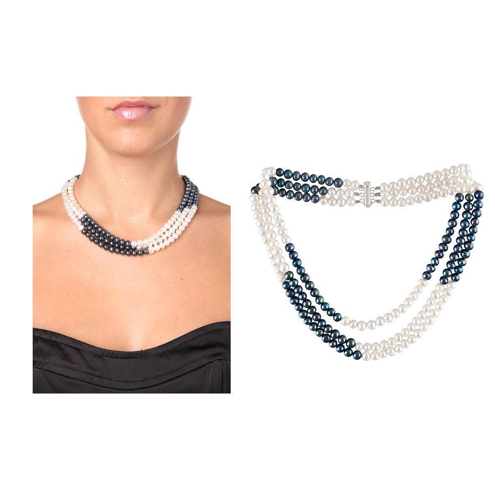 Black and White Freshwater Pearl Multi Row Necklace and Silver Clasp
