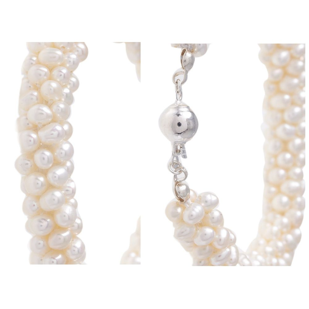 White Freshwater Pearls Twisted 6 rows Bracelet and Silver Clasp
