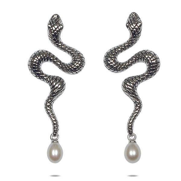 White Freshwater Pearls and 925 Silver Snake Earrings
