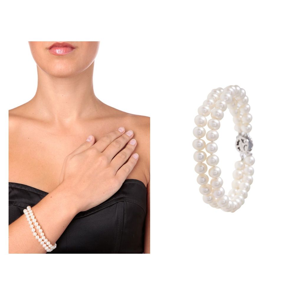 White Freshwater Pearl 2 Strands Bracelet and Silver Flower Clasp