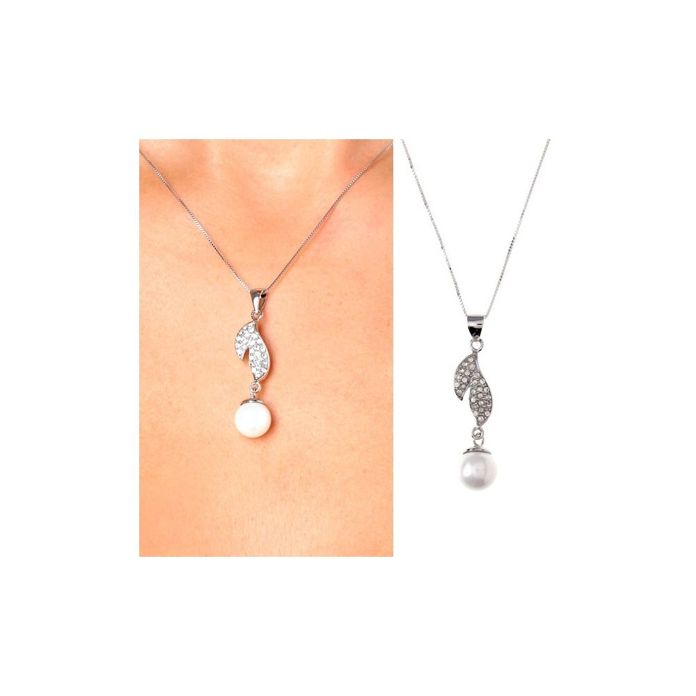 White Mother of Pearl Imitation Pearl Double Leaves Pendant and 925 Silver