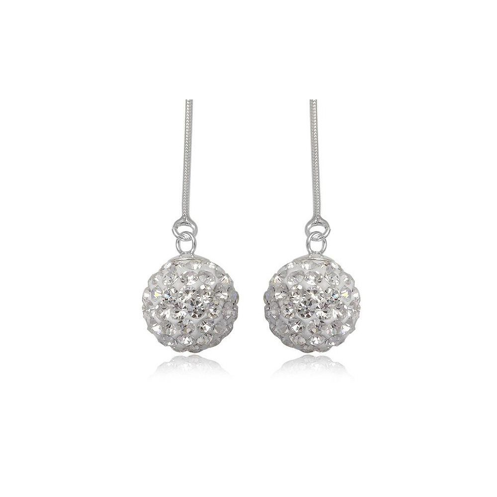 White Crystal dangling Earrings and 925 Silver