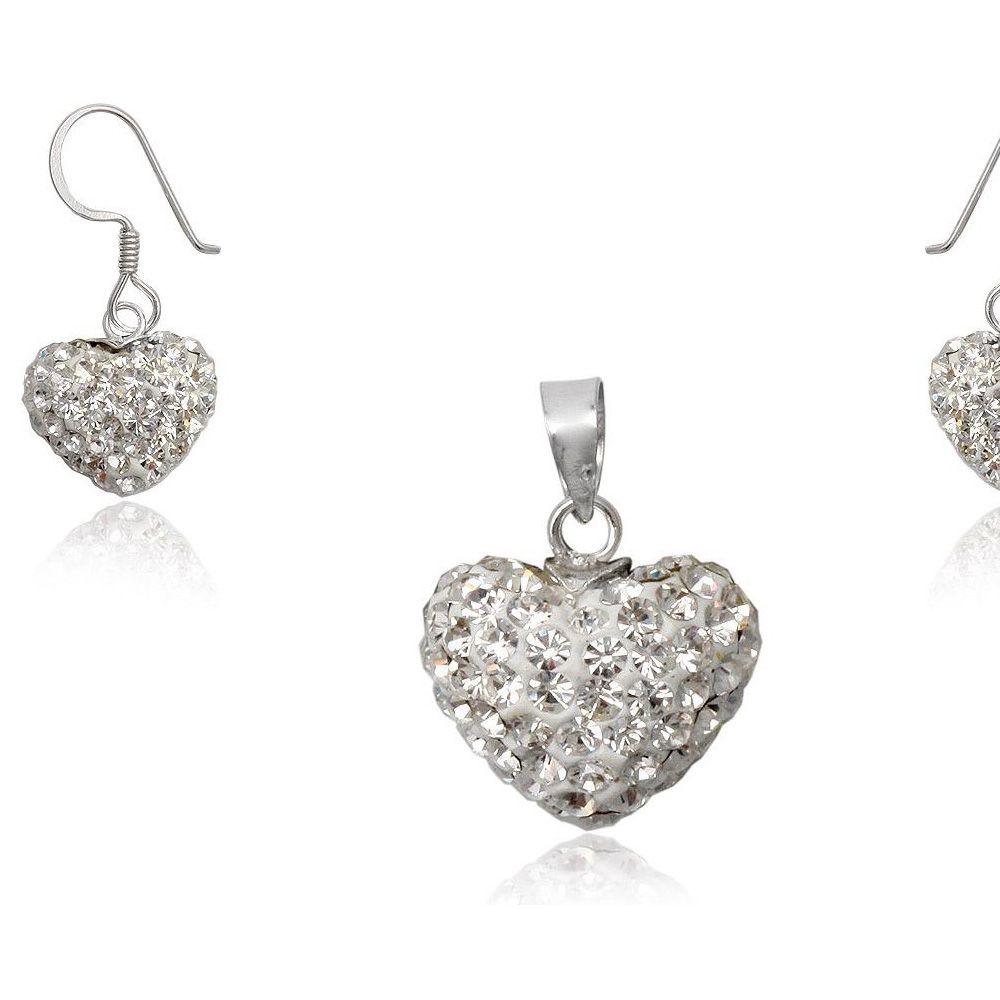 White Crystal Heart Set and 925/1000 Silver