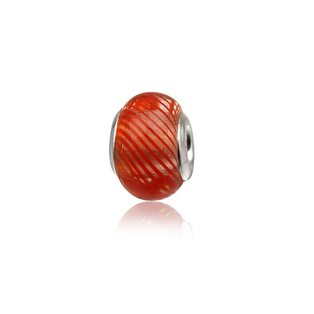 Red Murano Glass Charms Bead and 925 Silver