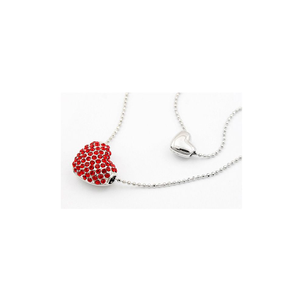 Swarovski - Double Heart Pendant made with a Red Crystal from Swarovski and White Gold Plated