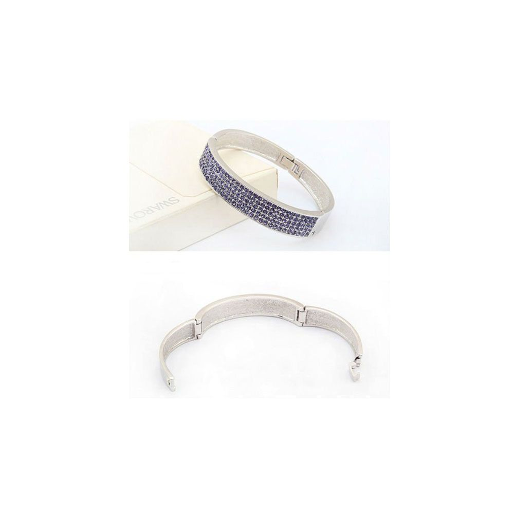 Swarovski - Bangle Bracelet made with a Purple Crystal from Swarovski and White Gold plated