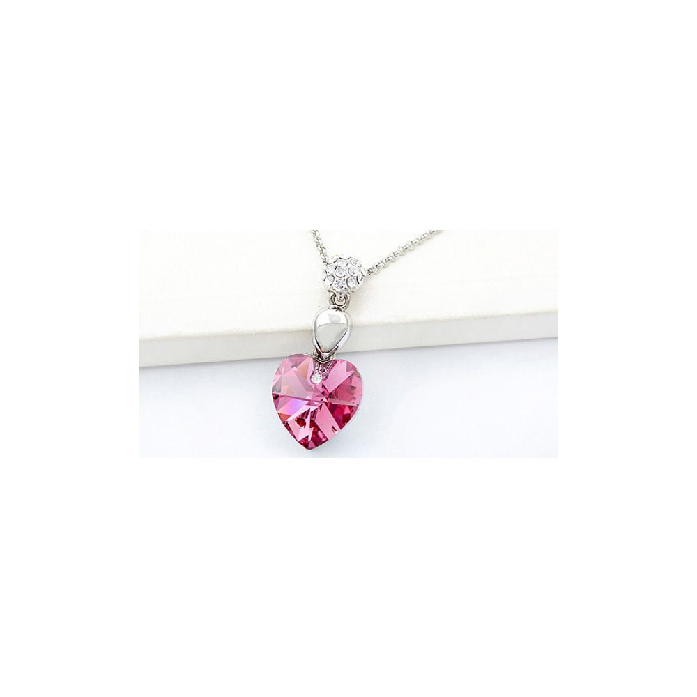 Swarovski - Heart Pendant made with a Pink Crystal from Swarovski
