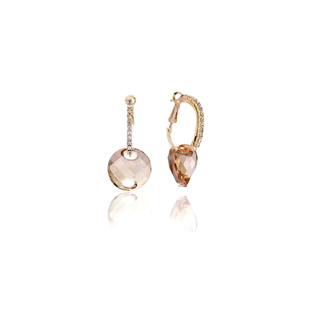 Swarovski - Golden Swarovski Crystal Elements Necklace and Earrings Set