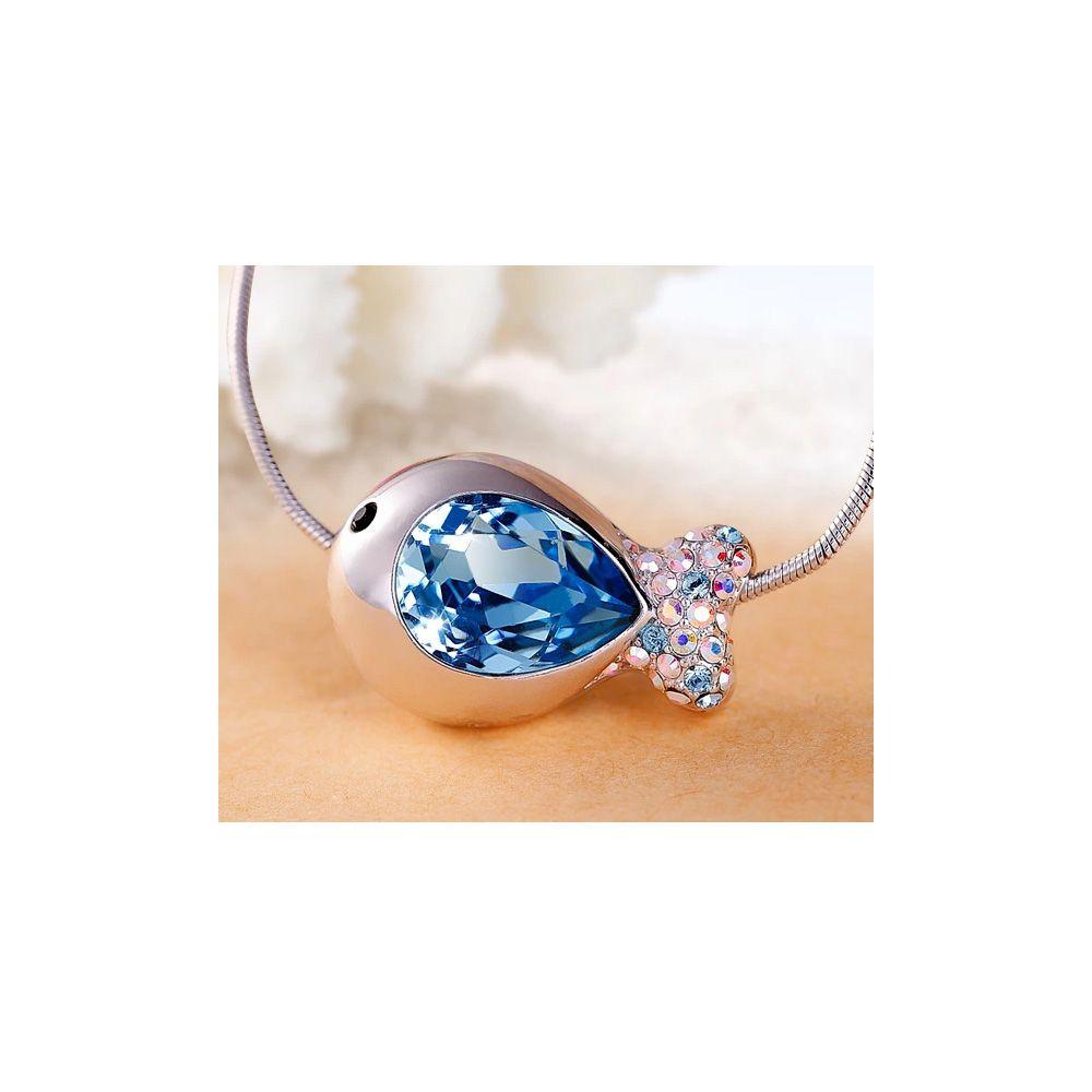 Swarovski - Blue Swarovski Crystal Elements and Rhodium Plated Fish Necklace