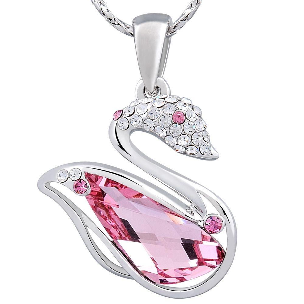 Swarovski - Pink Swarovski Crystal Elements and Rhodium Plated Swan Pendant